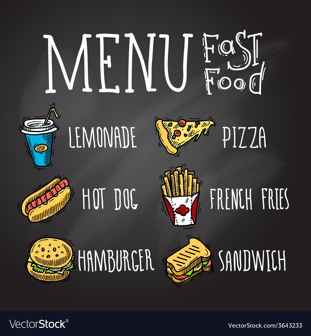 Fast Food Chalkboard vector image