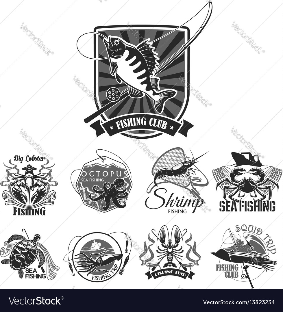 Fishing sport club icons set vector image