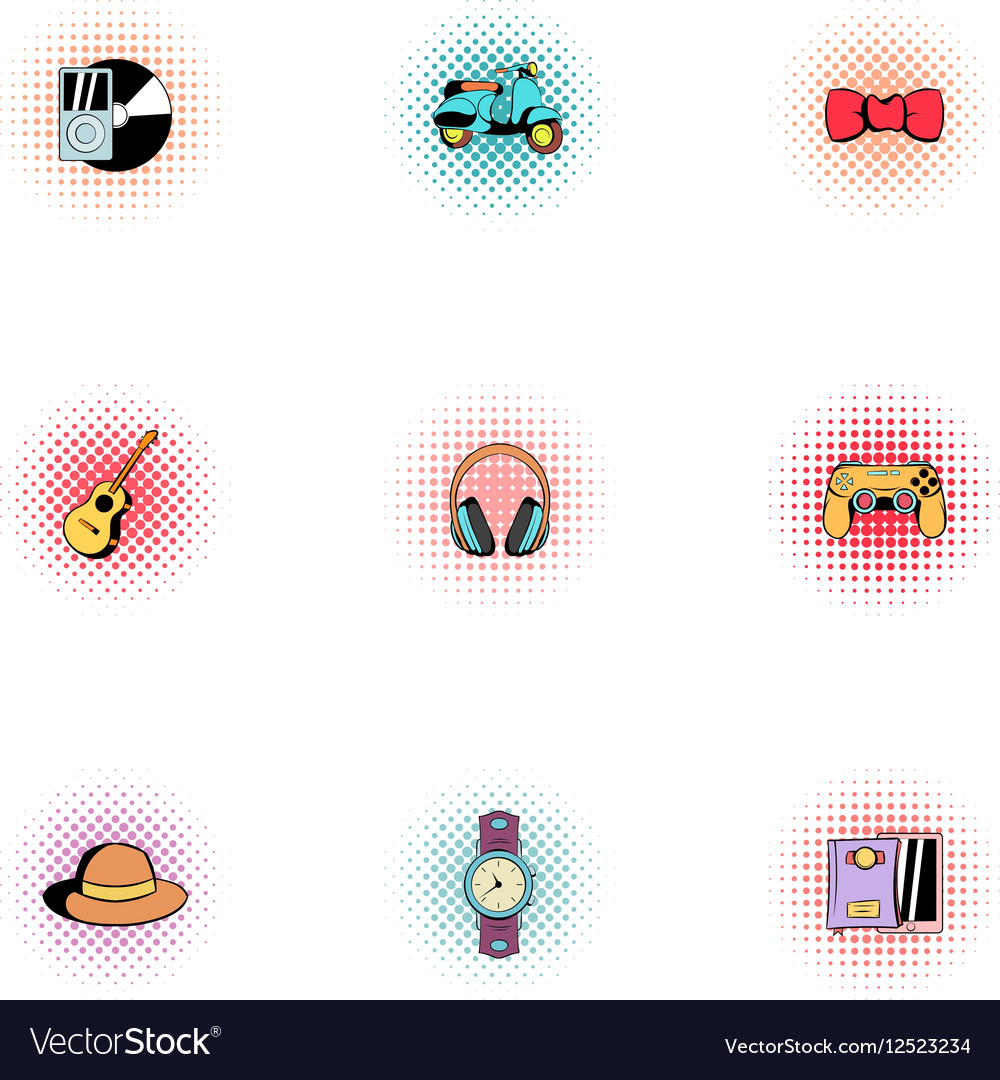 Modern hipsters icons set pop-art style vector image