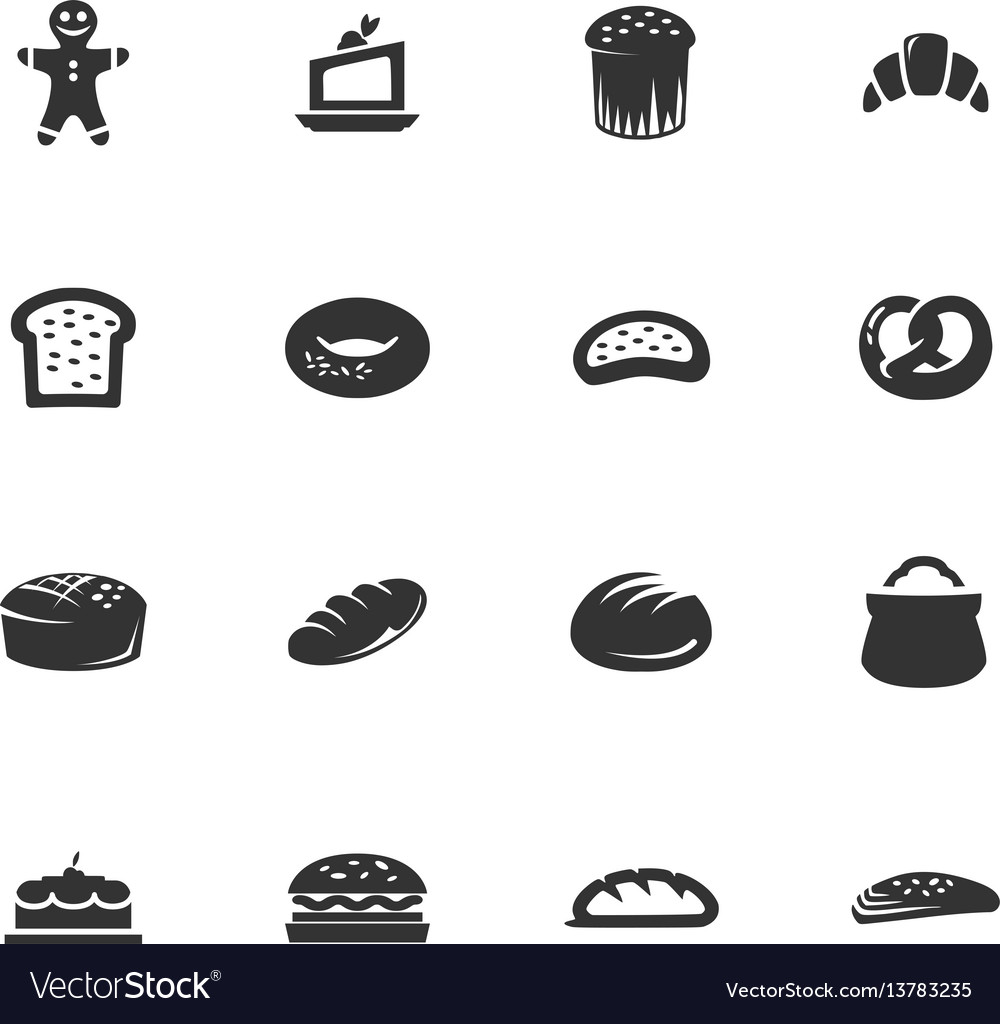 Bakery products icons set vector image