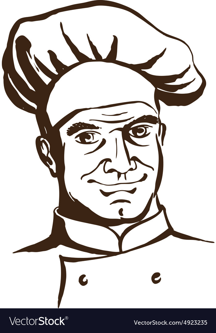 Handsome chef wearing hat and uniform Hand drawing vector image