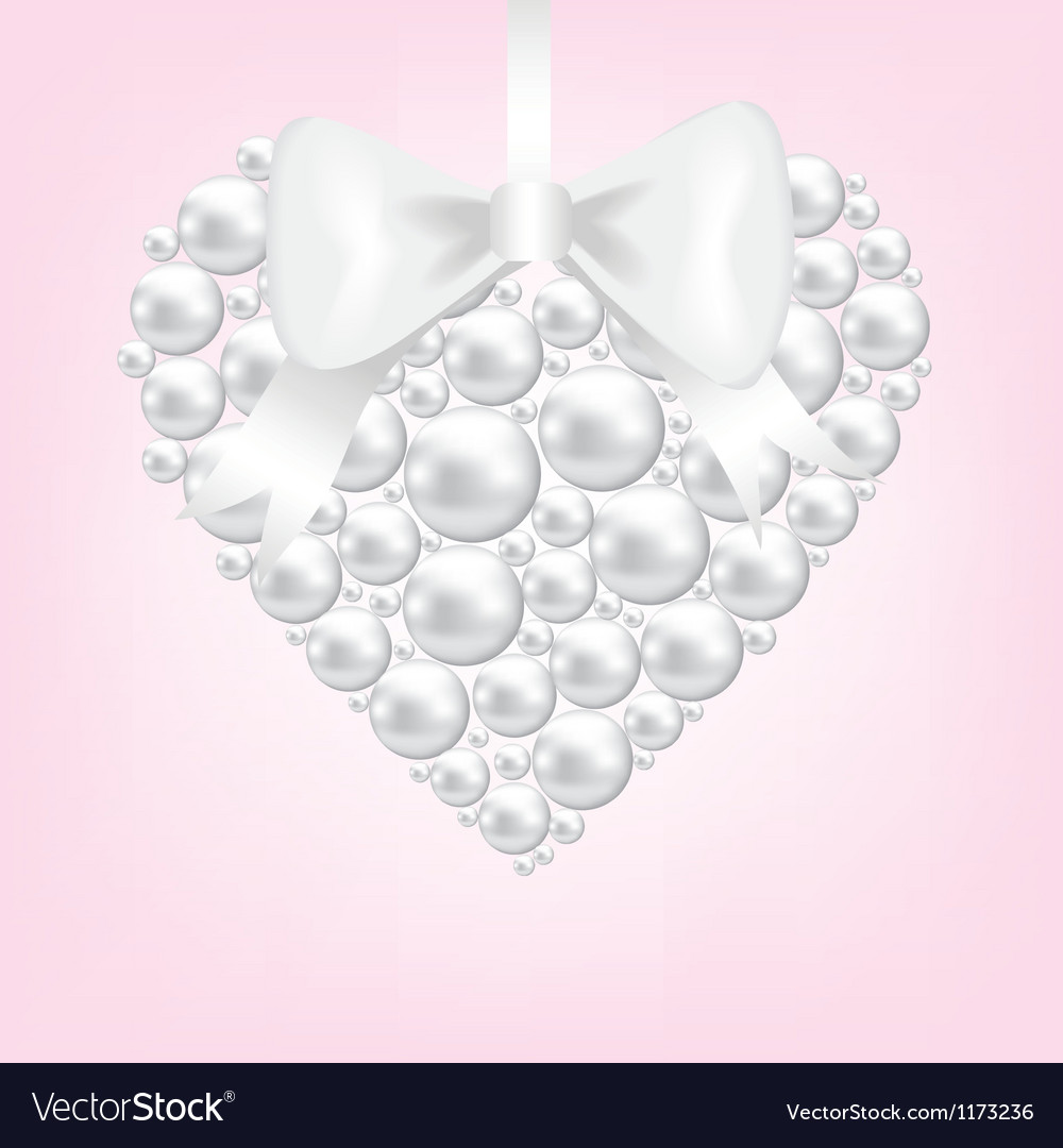 Pearl heart vector image