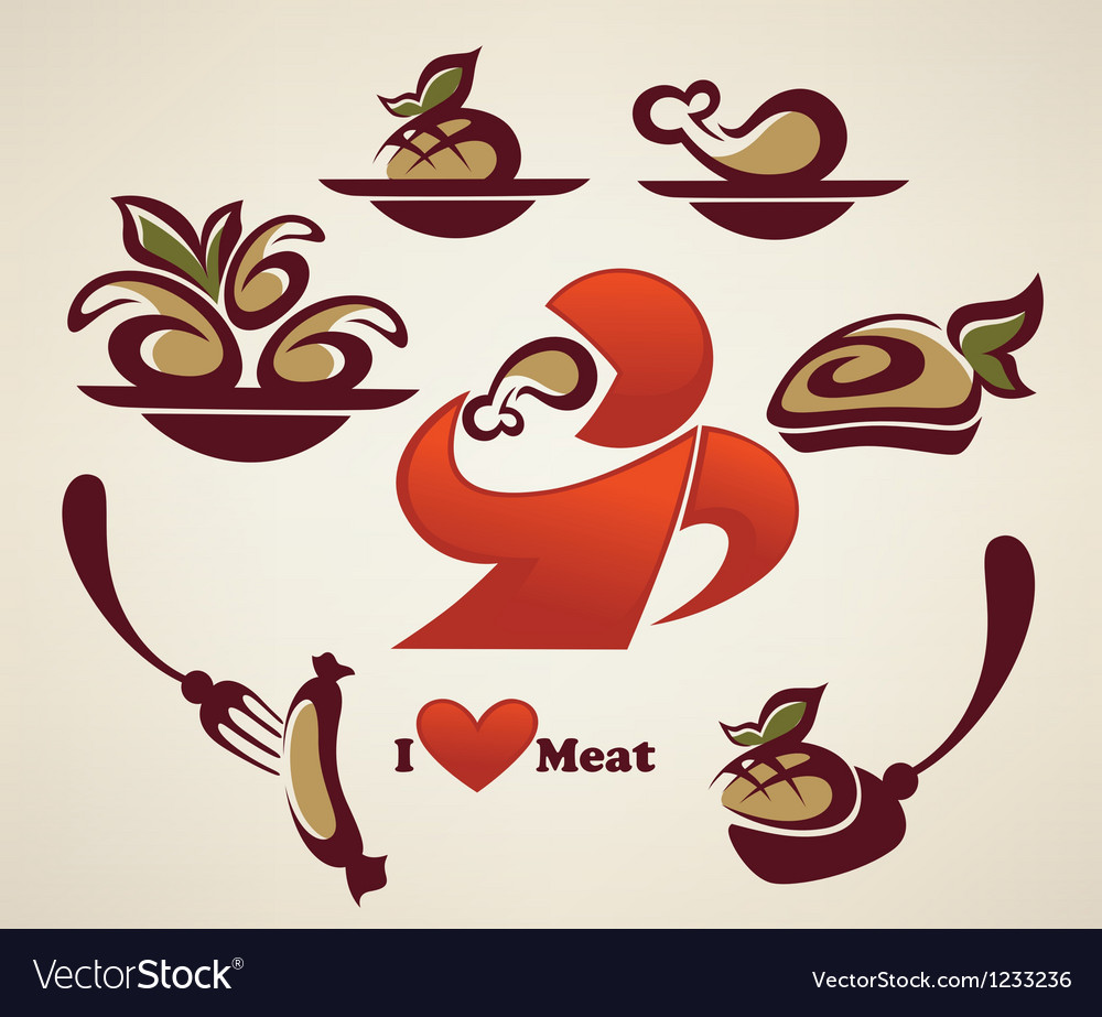 I love meat vector image