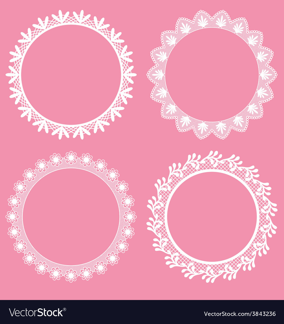 Round decorative lace borders frames vector image