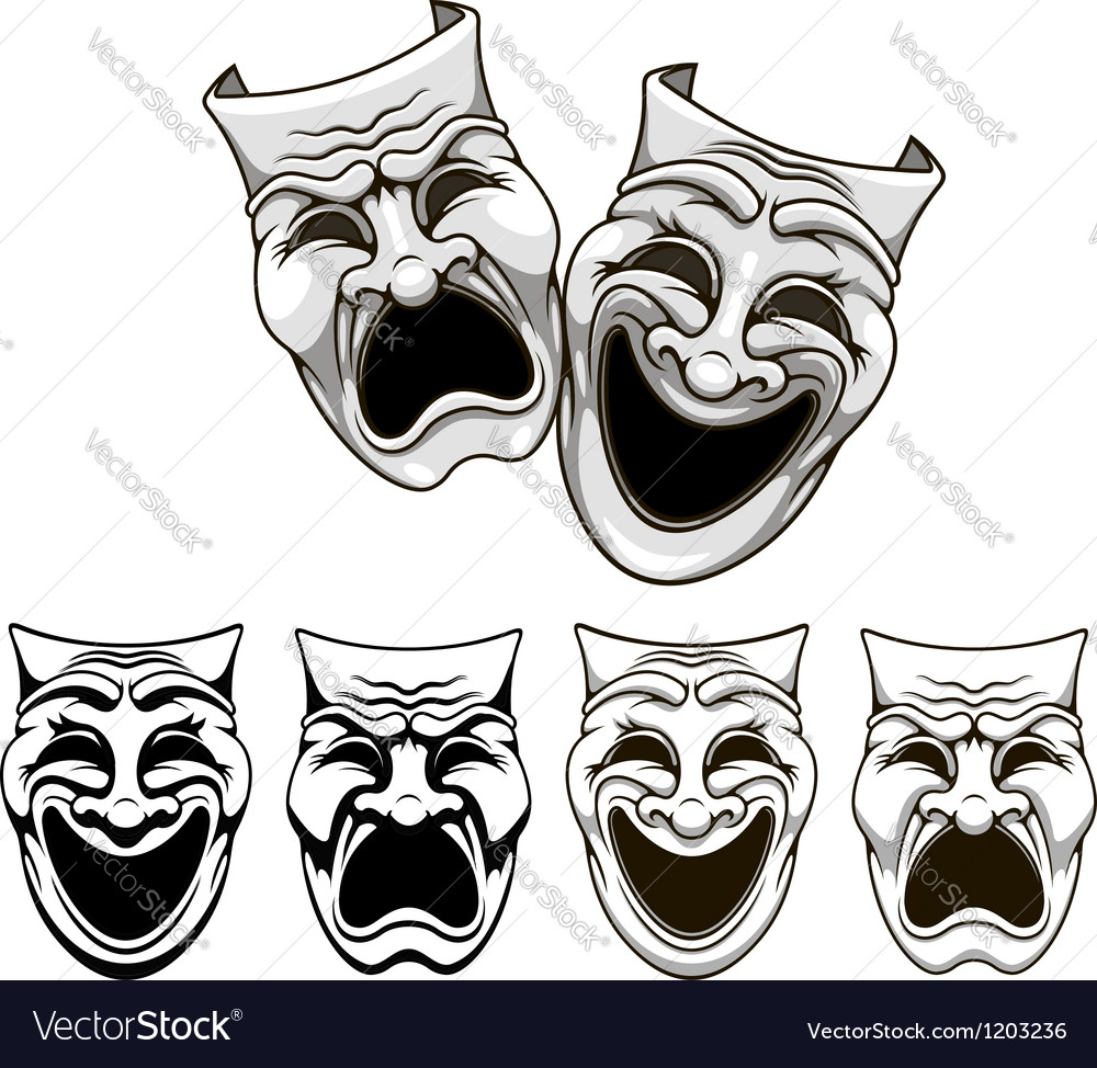 Tragedy and comedy theater masks vector image