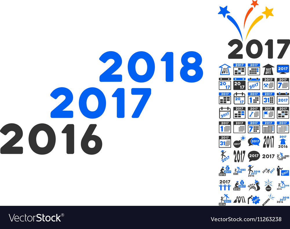 From 2016 to 2018 years icon with 2017 year bonus vector image for Bonus sociale 2017