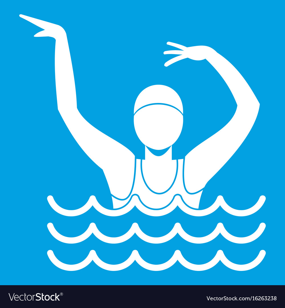 Swimmer in a swimming pool icon white vector image