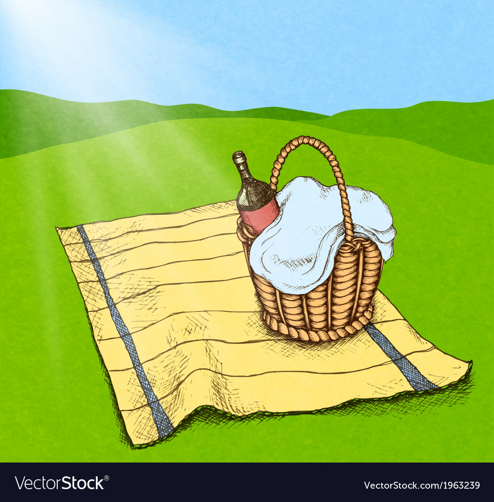 Picnic basket with food and wine vector image