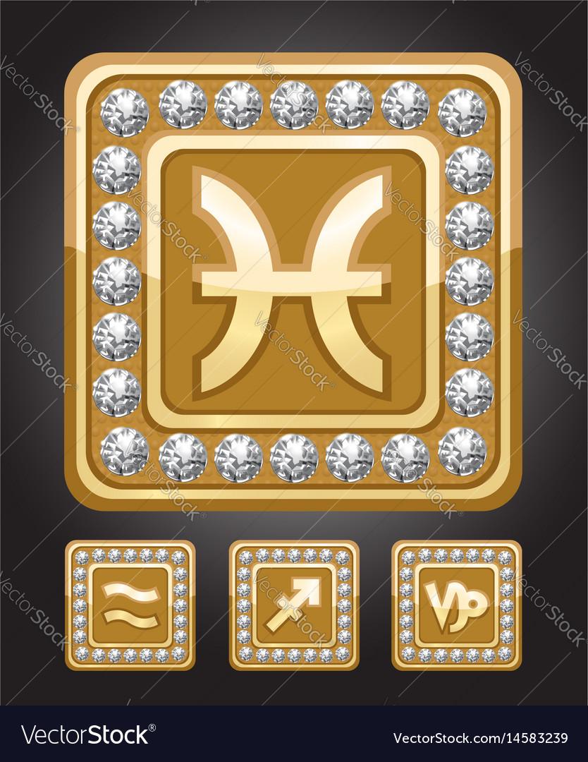 Zodiac signs set - capricorn pisces sagittarius vector image