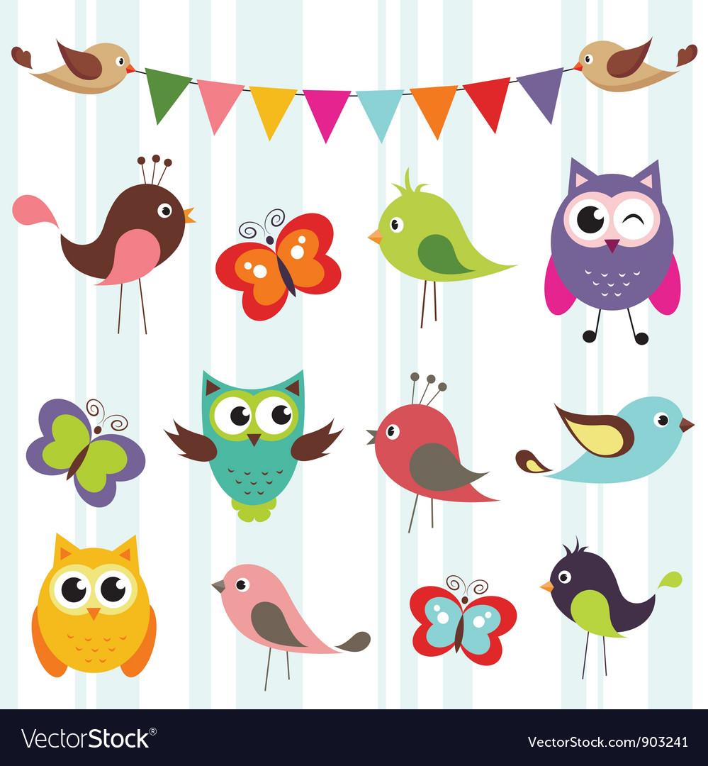 Birds and butterflies vector image