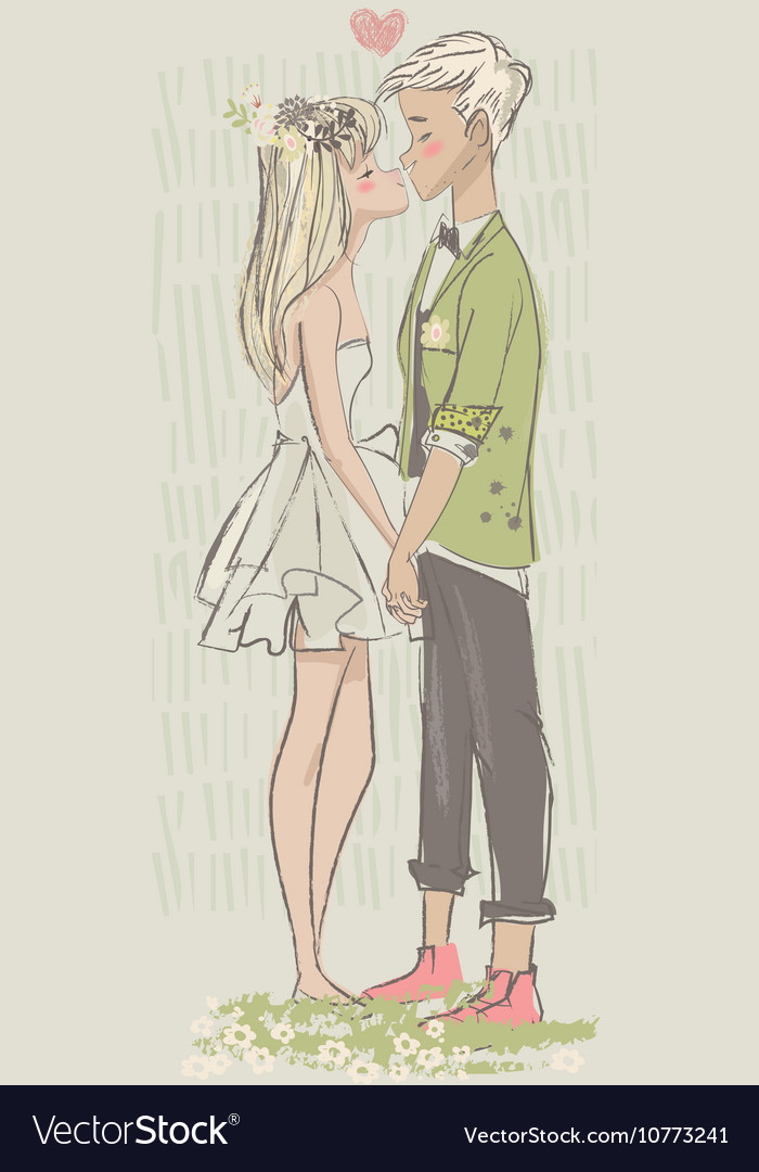 Cute cartoon couple in love vector image