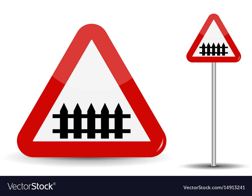 Road sign warning railroad crossing in red vector image