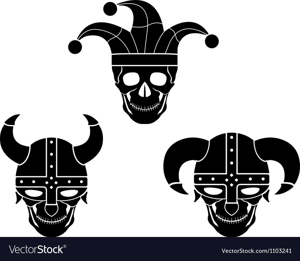 Set of evil skulls vector image