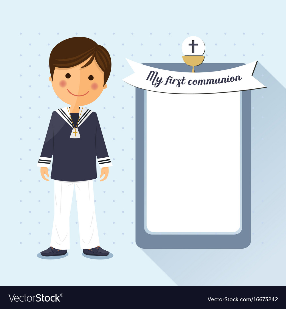 First communion child square card on blue vector image
