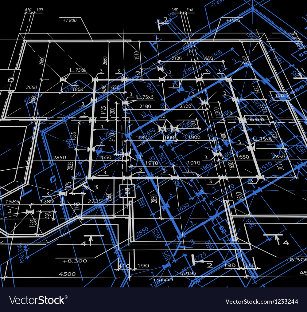 Blueprint abstract dark background vector image