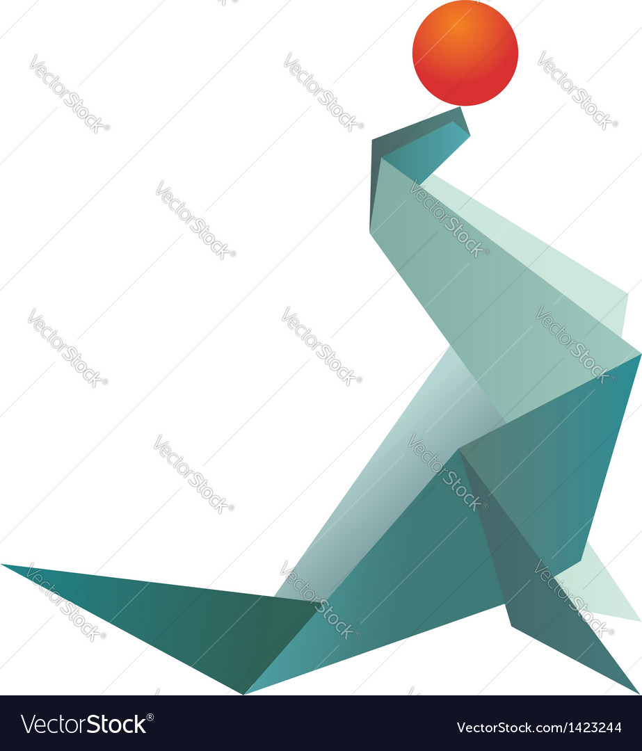 Vibrant colors origami seal and ball royalty free vector vibrant colors origami seal and ball vector image jeuxipadfo Gallery