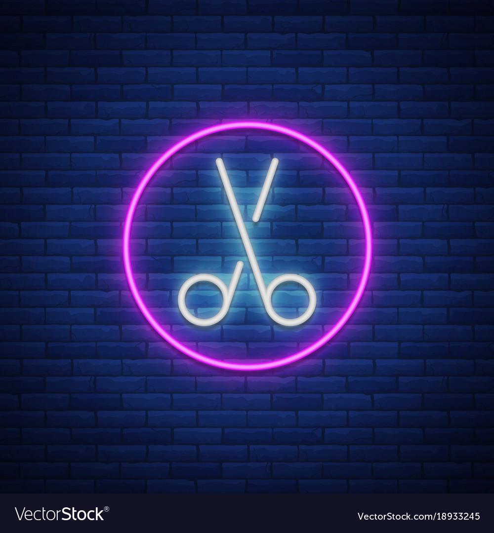 Scissors neon sign icon design element for logo vector image buycottarizona Choice Image