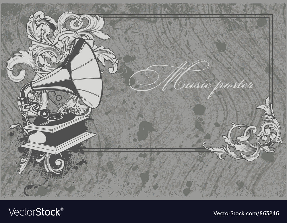 Grunge music poster vector image