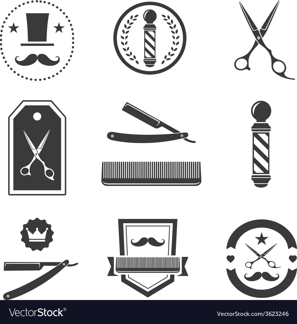 Clip art vector of vintage barber shop logo graphics and icon vector - Barber Shop Logo Labels Badges Vintage Vector Image