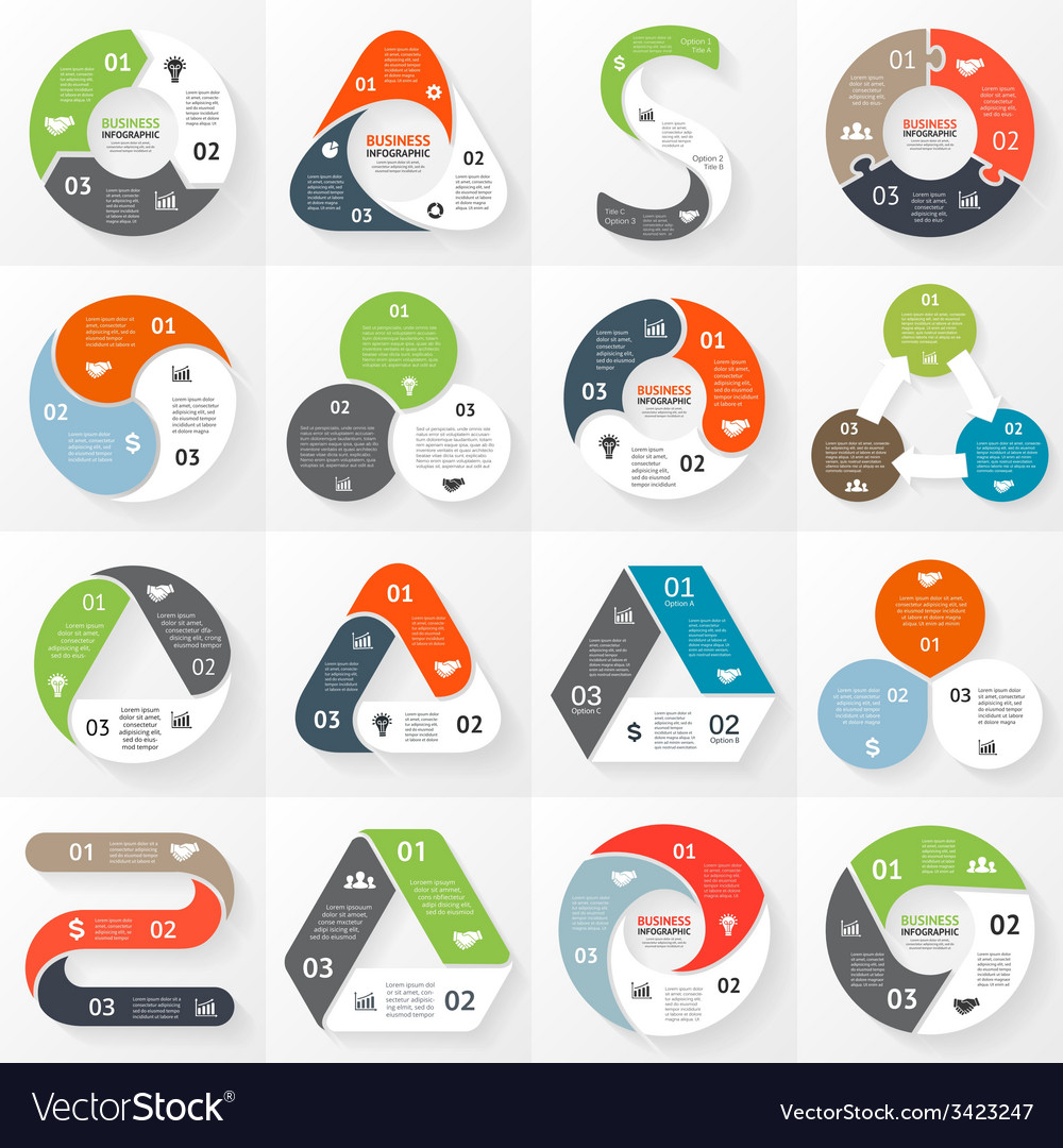 Infographic diagram 3 options parts steps Vector Image