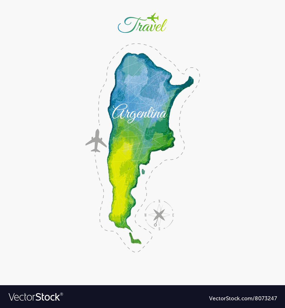 Travel around the world argentina watercolor map vector image travel around the world argentina watercolor map vector image gumiabroncs Gallery