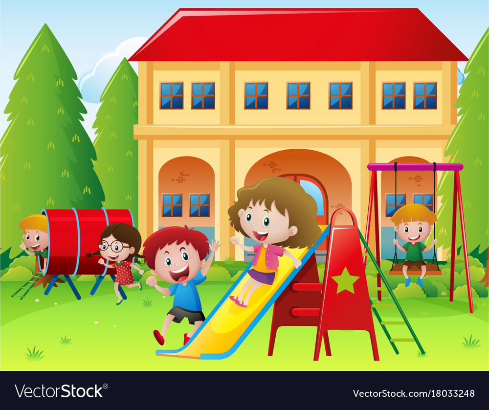 children playing at school playground vector image - Images Of Children Playing At School
