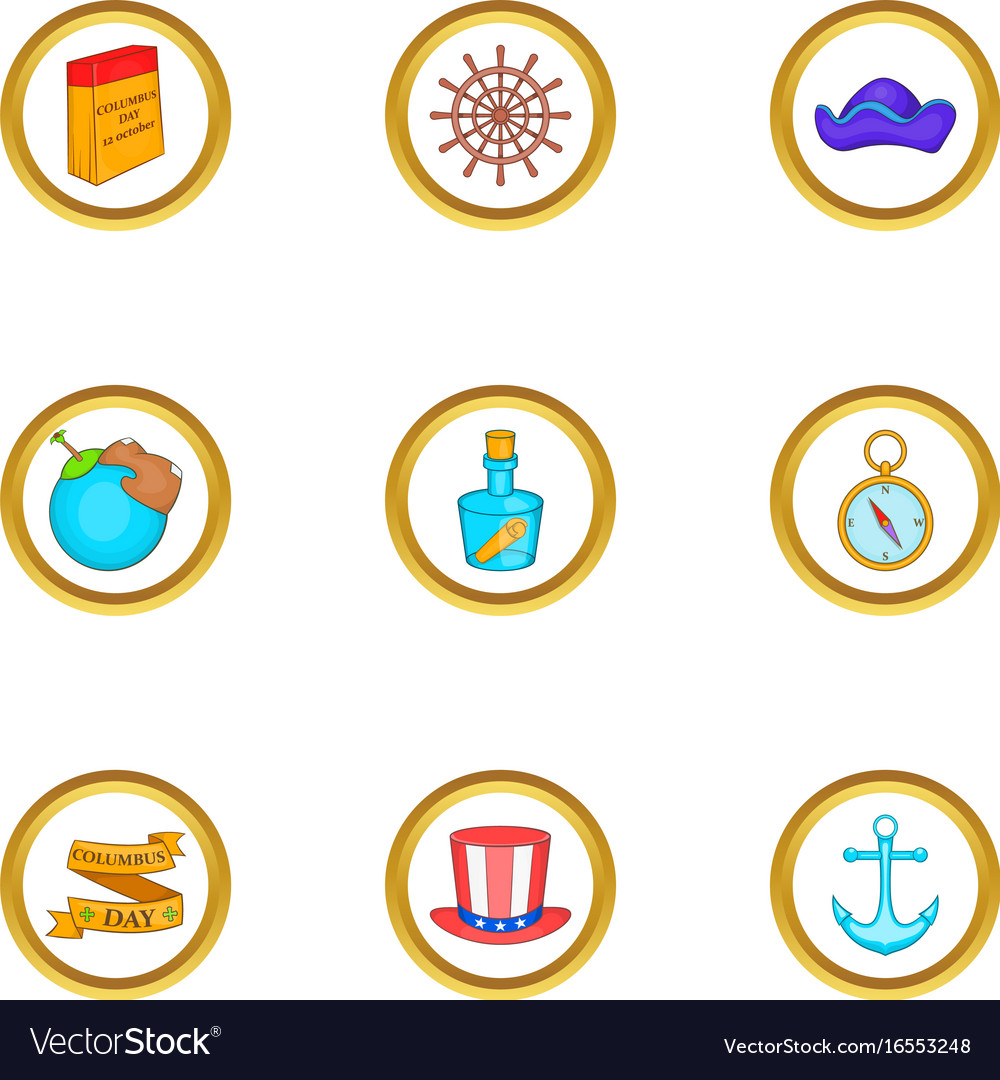 Discoverer icons set cartoon style vector image