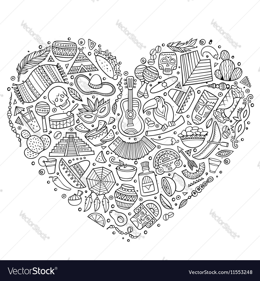 Set of Latin American cartoon doodle objects vector image