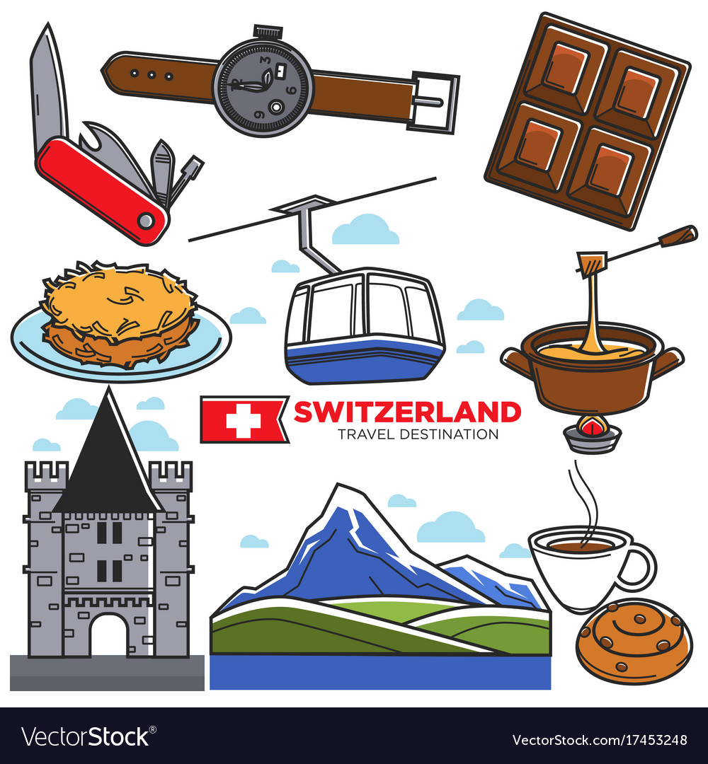 Switzerland travel sightseeing icons and vector image