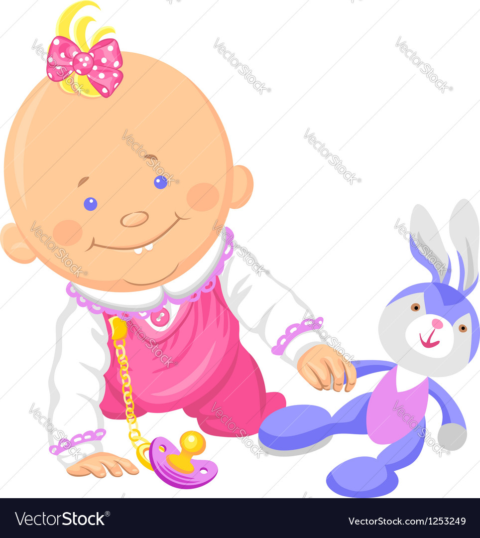 Cute smiling baby girl playing with a toy rabbit vector image