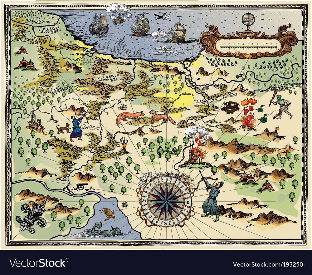 antique map vector image. antique map royalty free vector image  vectorstock