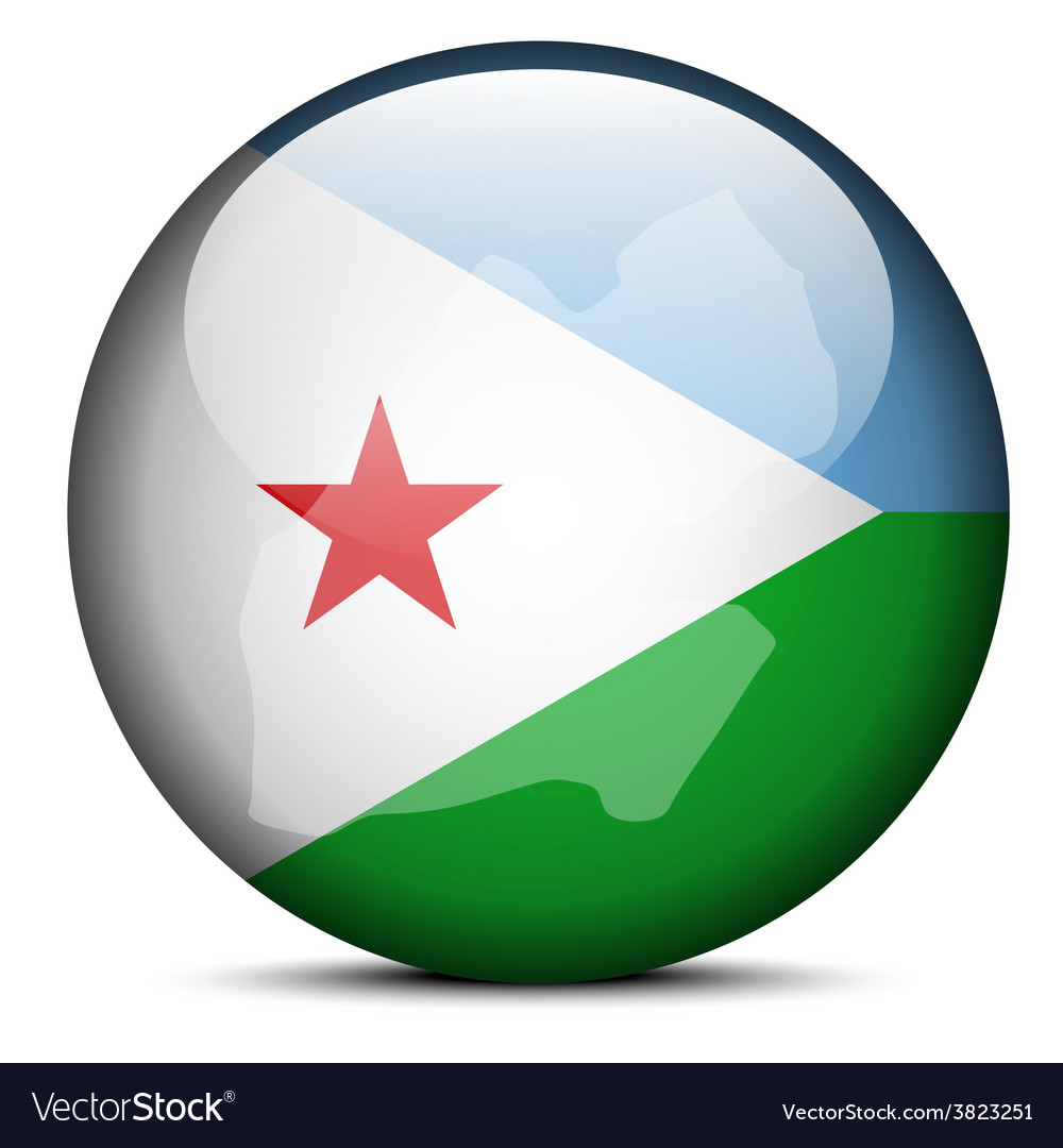 Map On Flag Button Of Republic Of Djibouti Vector Image - Republic of djibouti map