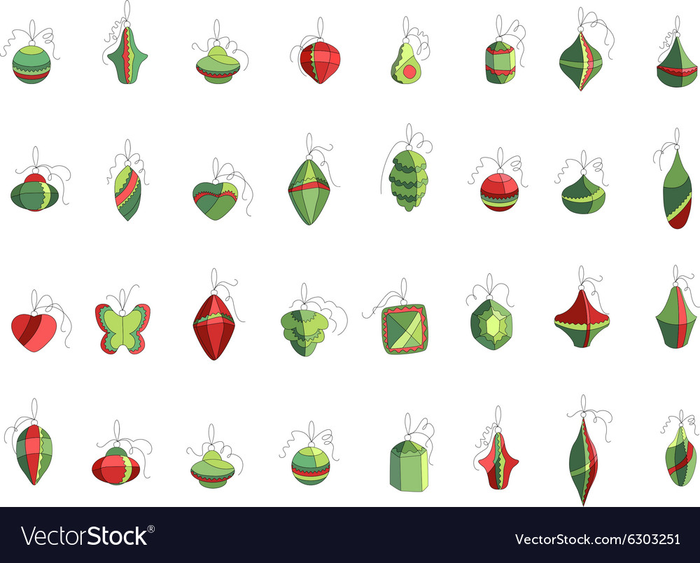 set of different christmas decorations isolated on vector image - Different Christmas Decorations