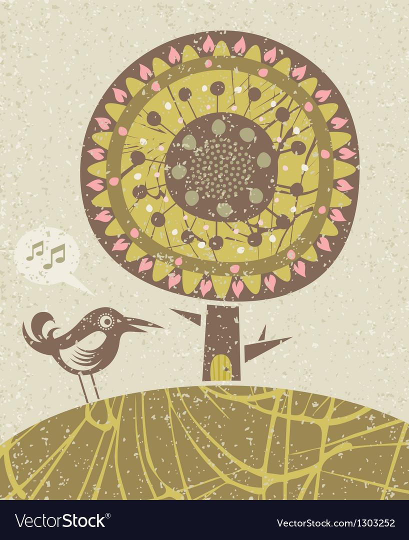 Bird and tree vector image
