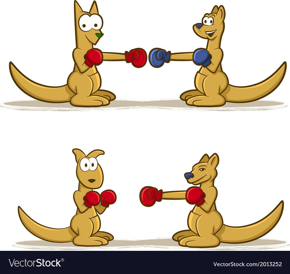 Boxing Kangaroo Set vector image