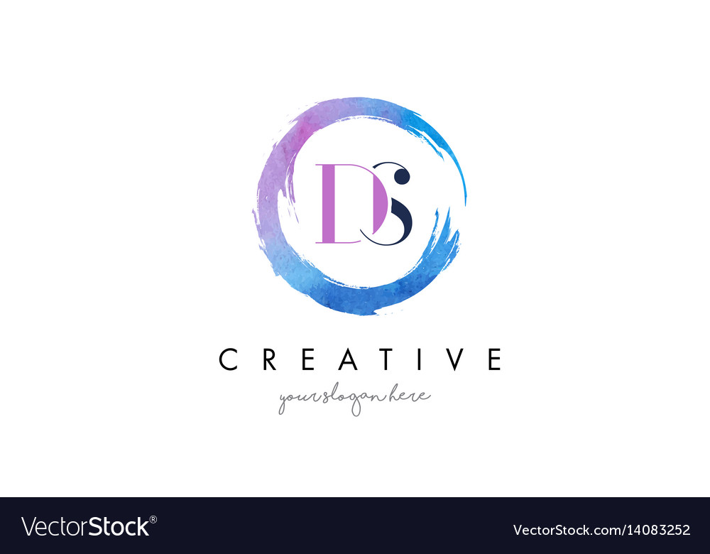 Ds letter logo circular purple splash brush vector image