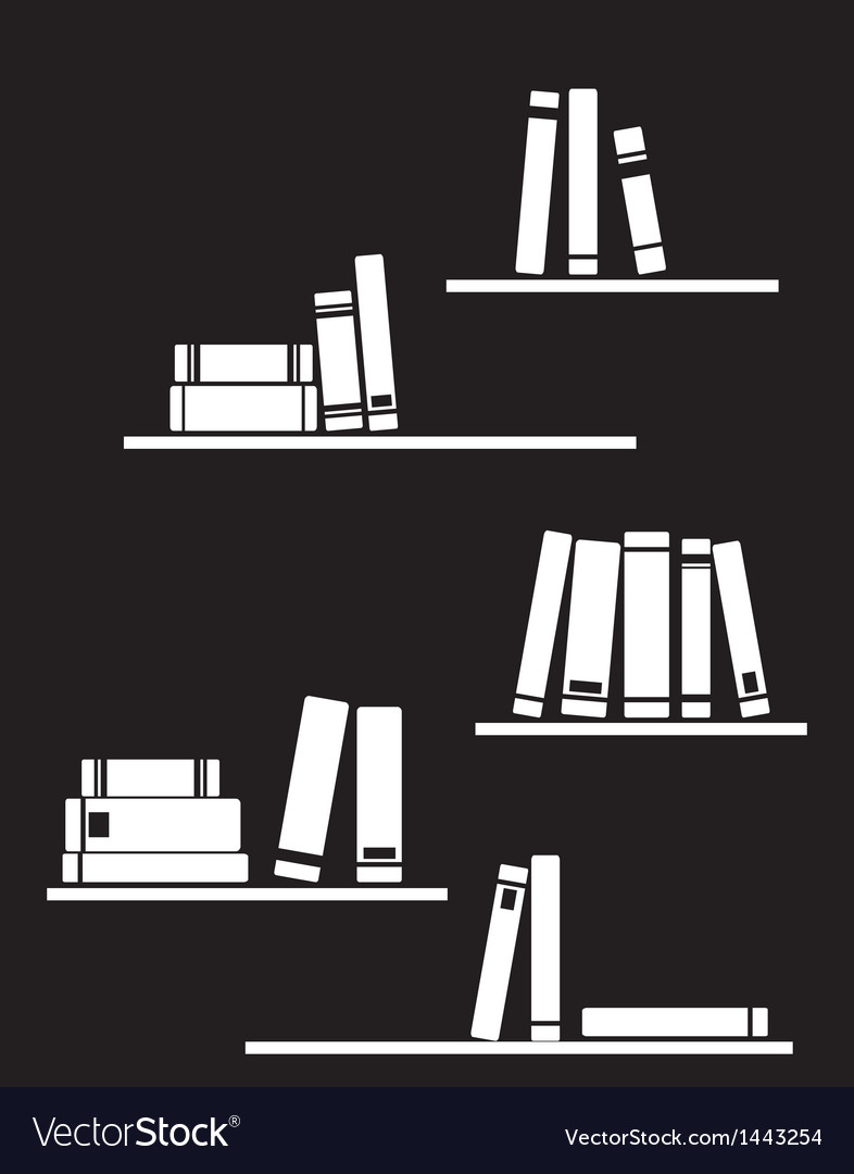 Black and white library books on shelf vector image
