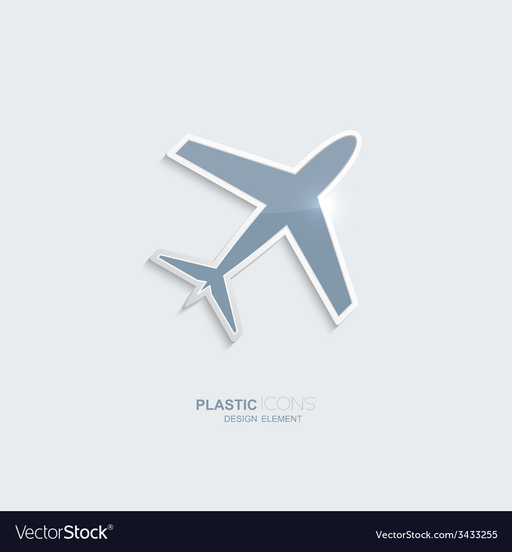 Plastic icon airplane symbol vector image