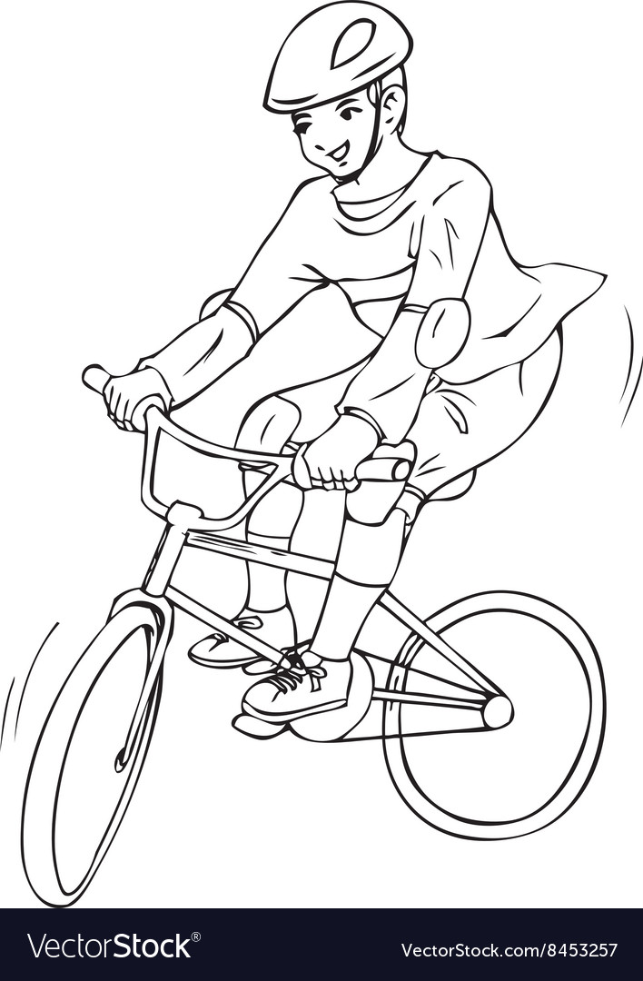 A Boy Riding Bicycle For Coloring Page Vector Image