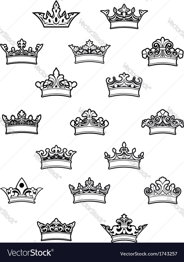 Ornated heraldic crowns set vector image