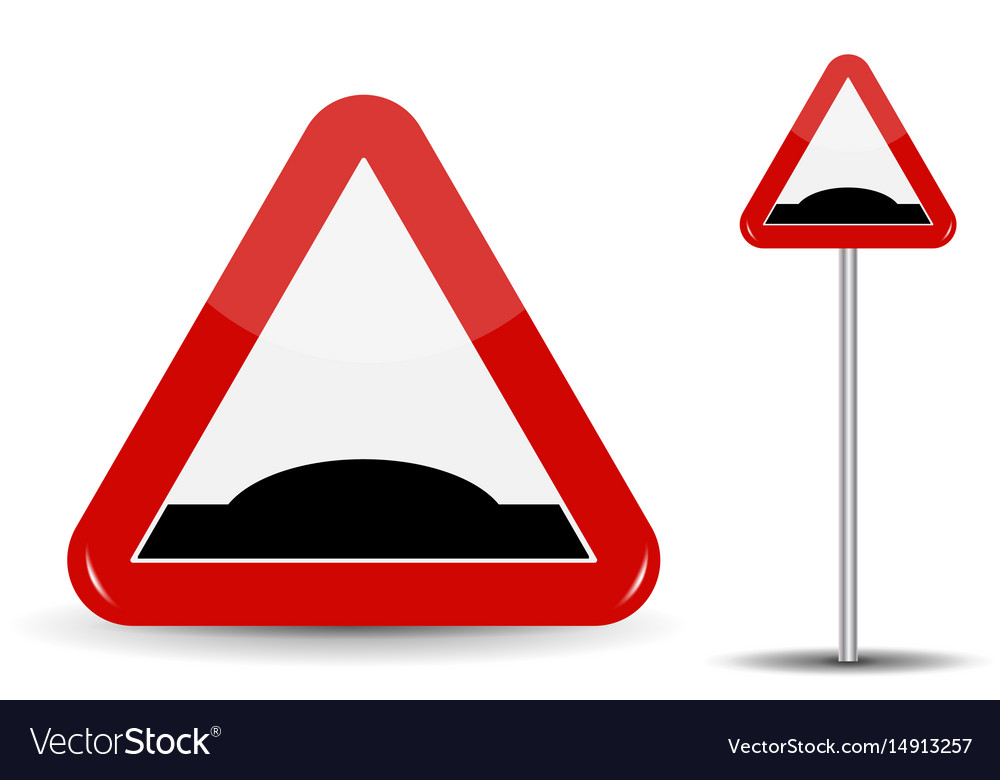 Road sign warning sleeping policeman in red vector image