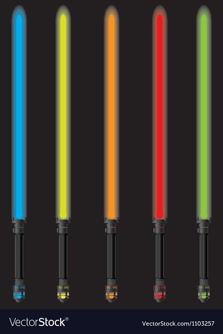 Set of lightsabers vector image