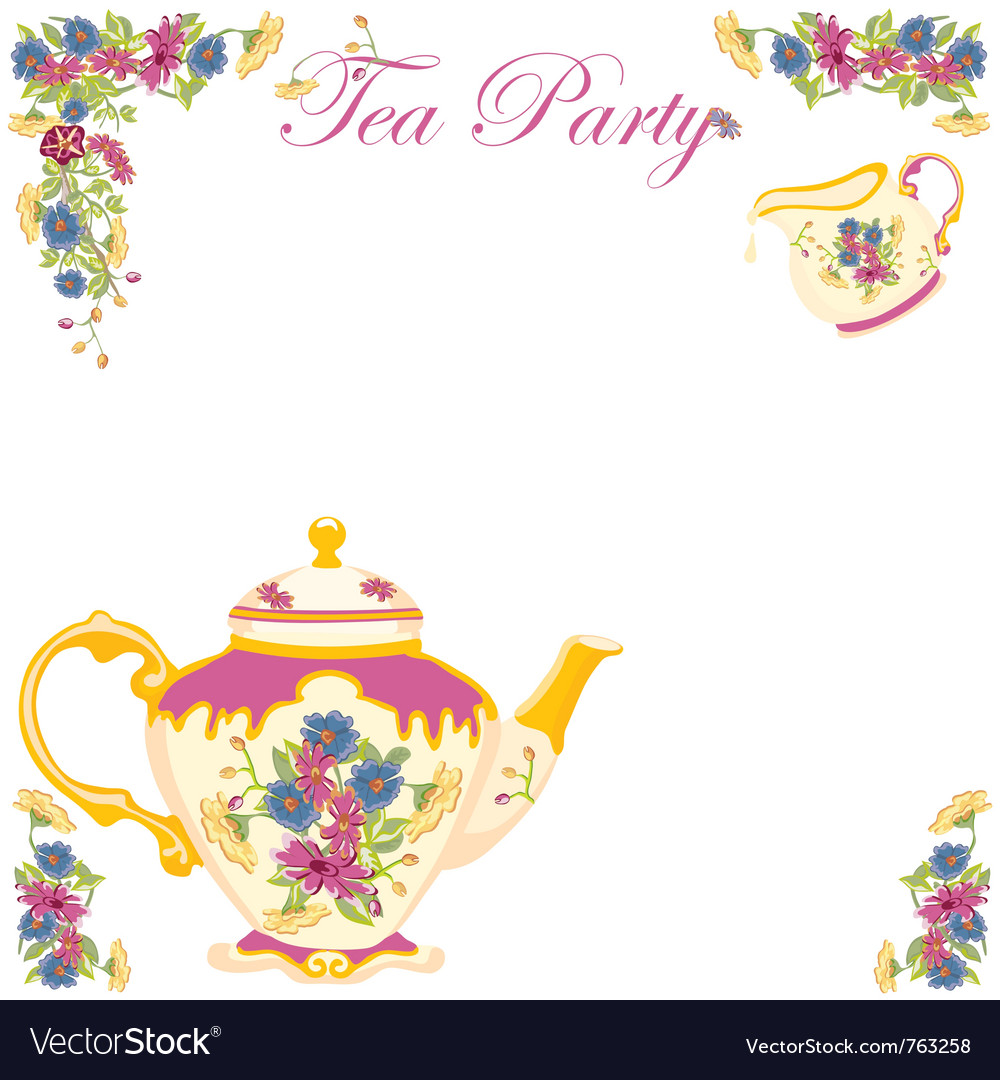 Tea party invitation Royalty Free Vector Image – Invitation to Tea Party