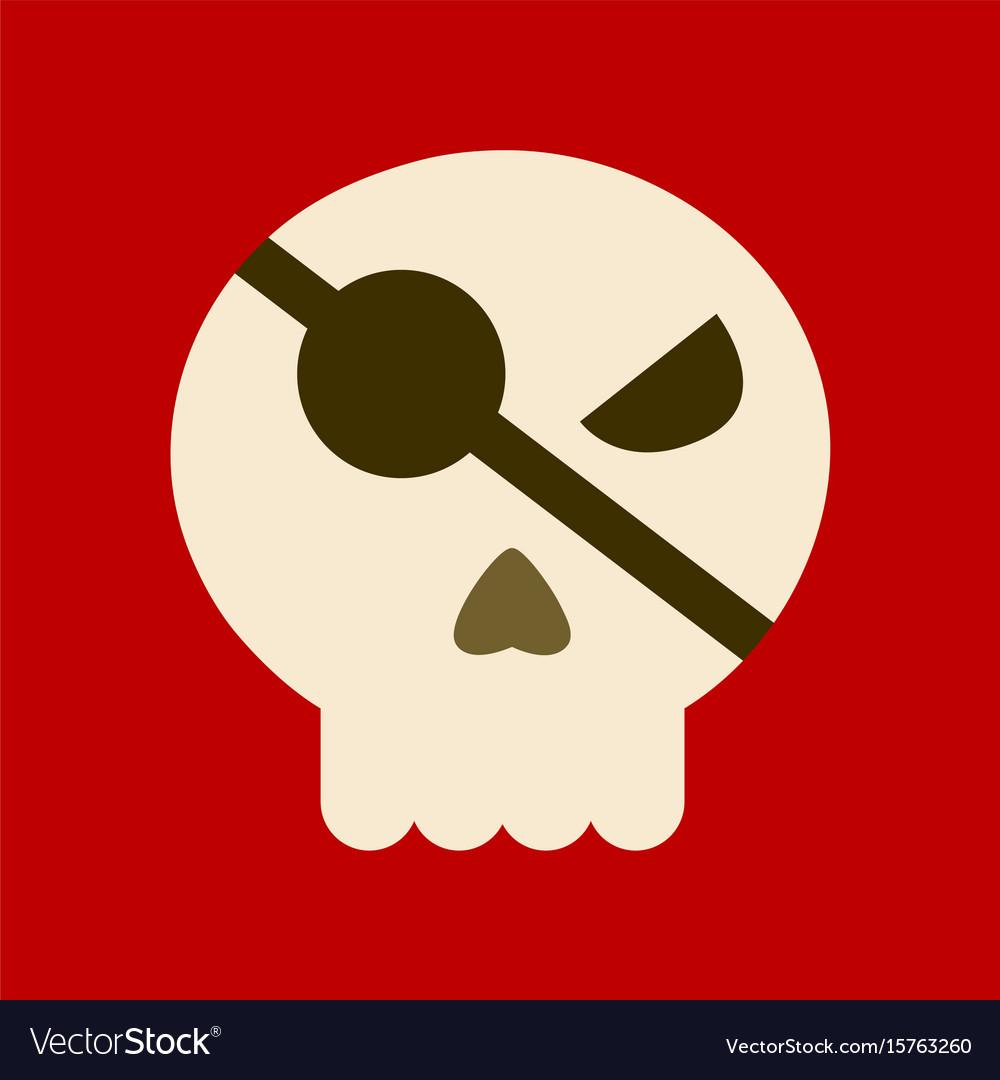 Flat icon on background halloween emotion skull