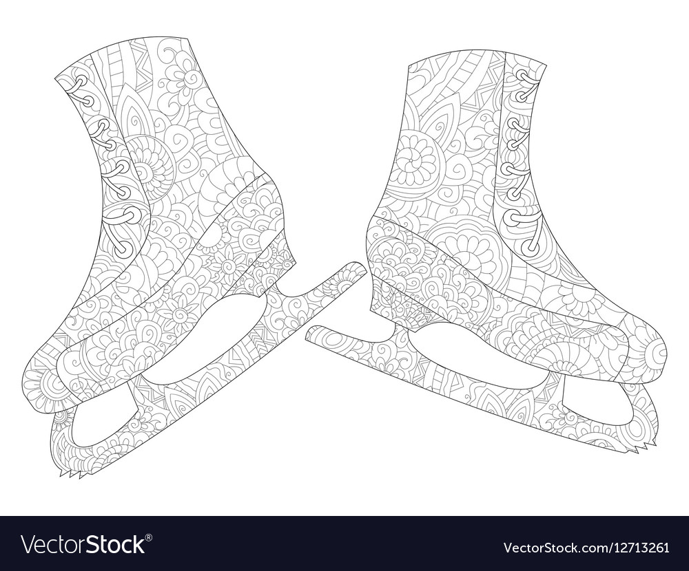 A pair of skates coloring for adults vector image