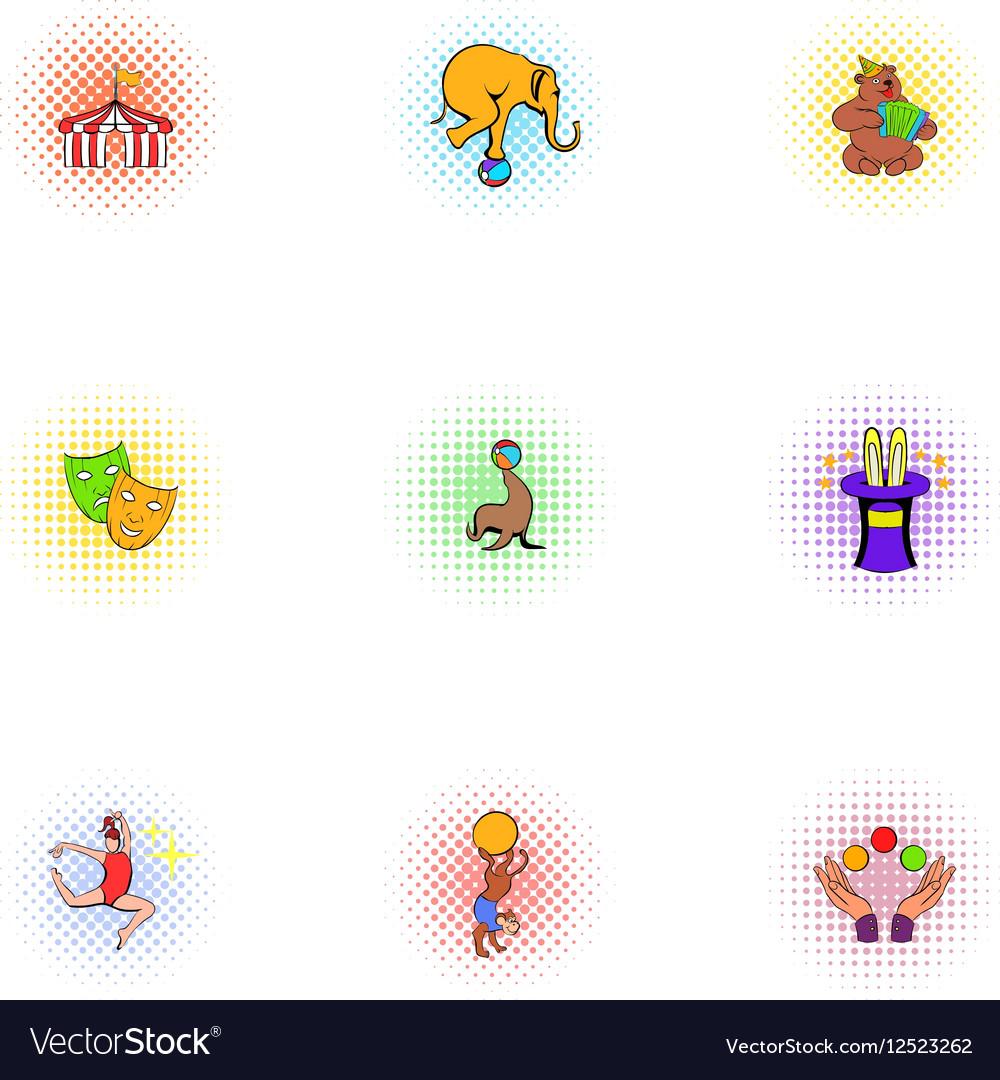 Chapiteau icons set pop-art style vector image