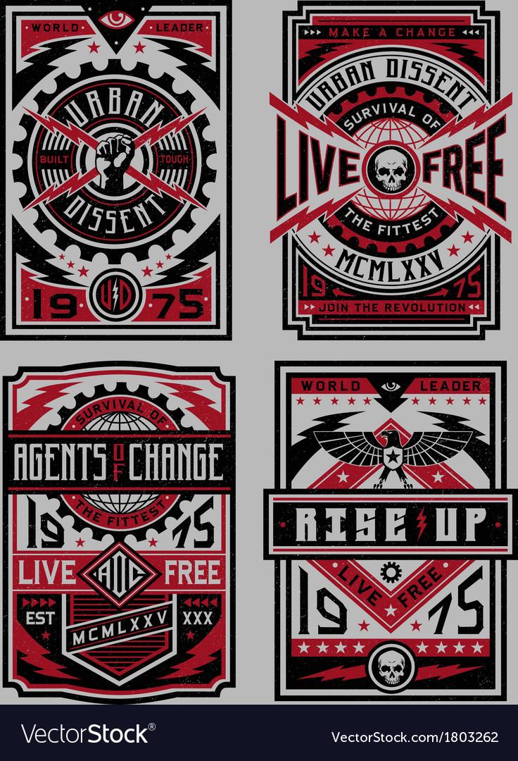 Propaganda Poster Set vector image
