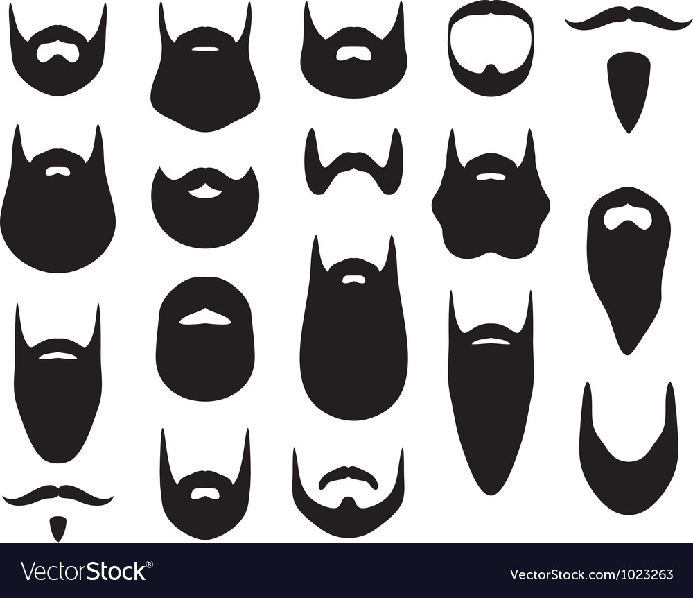Set of beard silhouettes vector image