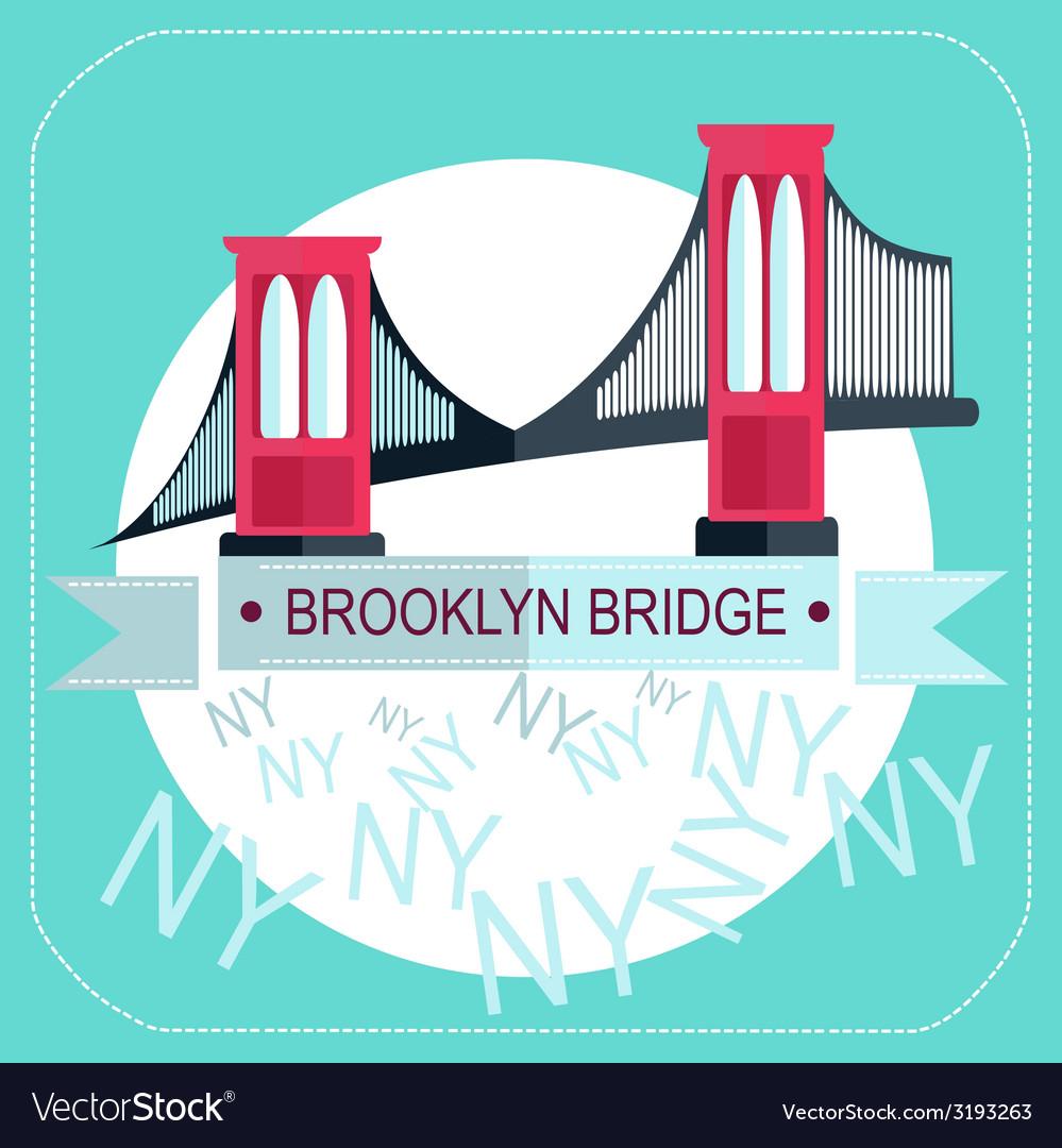 Brooklyn Bridge New York icon flat vector image