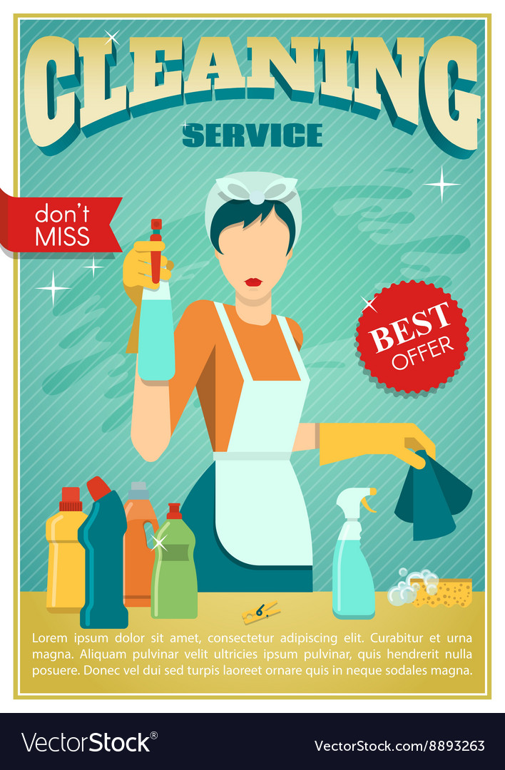 Cleaning Service Poster Royalty Free Vector Image